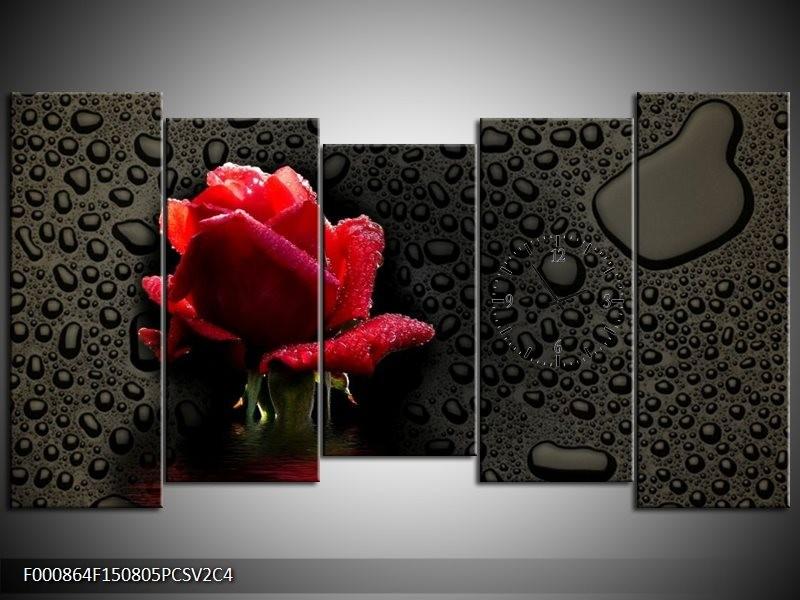 Klok schilderij Roos | Rood, Zwart, Wit | 150x80cm 5Luik