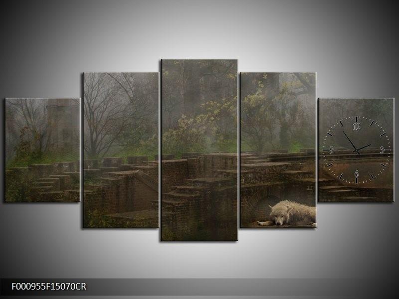 Klok schilderij Wolf   Groen, Grijs   150x70cm 5Luik