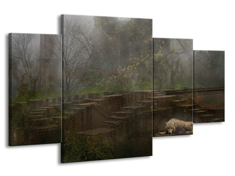 Canvas schilderij Wolf | Groen, Grijs | 160x90cm 4Luik