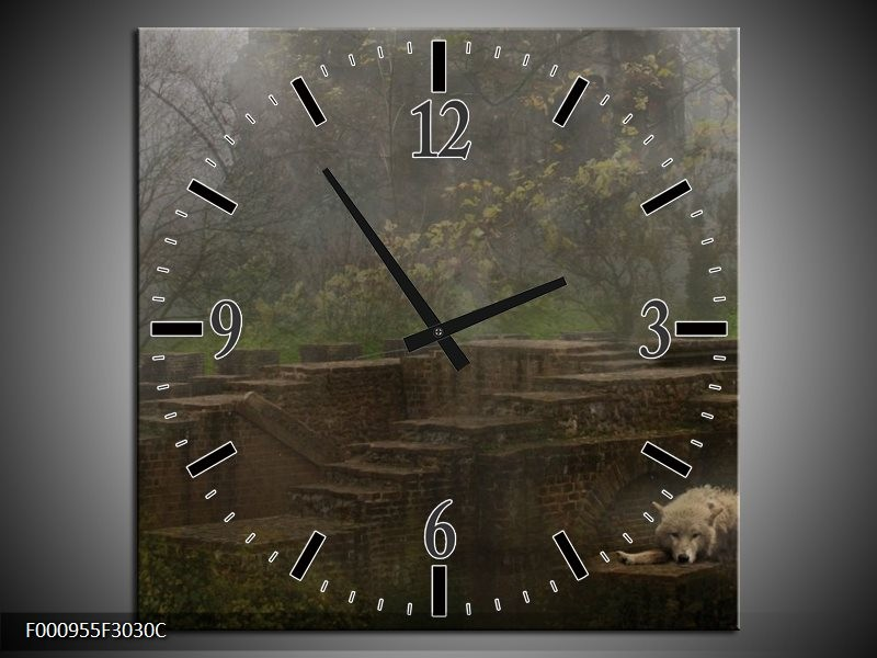 Klok schilderij Wolf   Groen, Grijs   30x30cm 1Luik