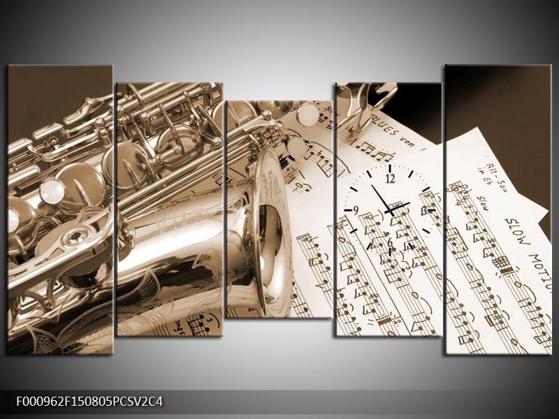 Klok schilderij Muziek | Wit, Grijs | 150x80cm 5Luik