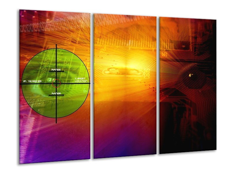 Canvas schilderij Abstract   Geel, Groen, Paars   120x80cm 3Luik