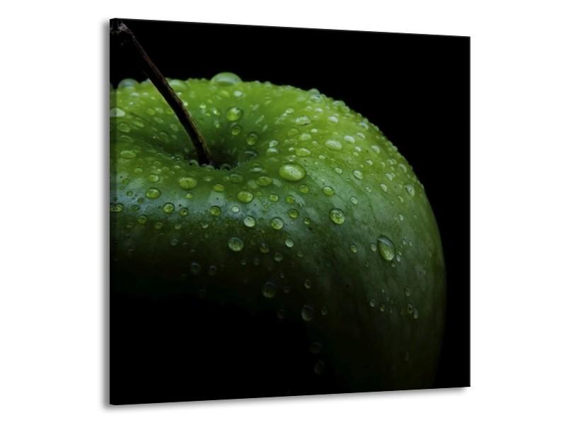 Canvas schilderij Appel | Groen, Zwart | 70x70cm 1Luik