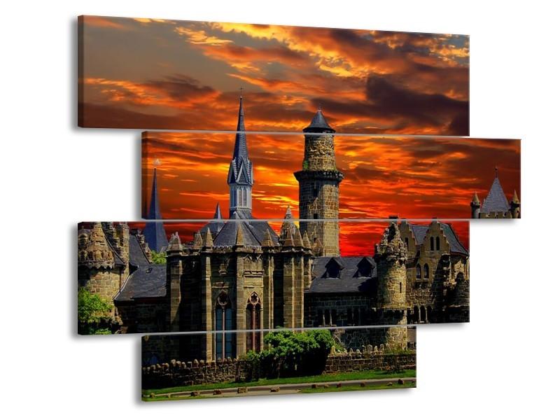 Canvas schilderij Kasteel | Oranje, Rood | 115x85cm 4Luik