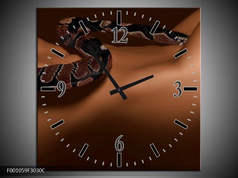 Klok schilderij Slang | Bruin, Zwart | 30x30cm 1Luik