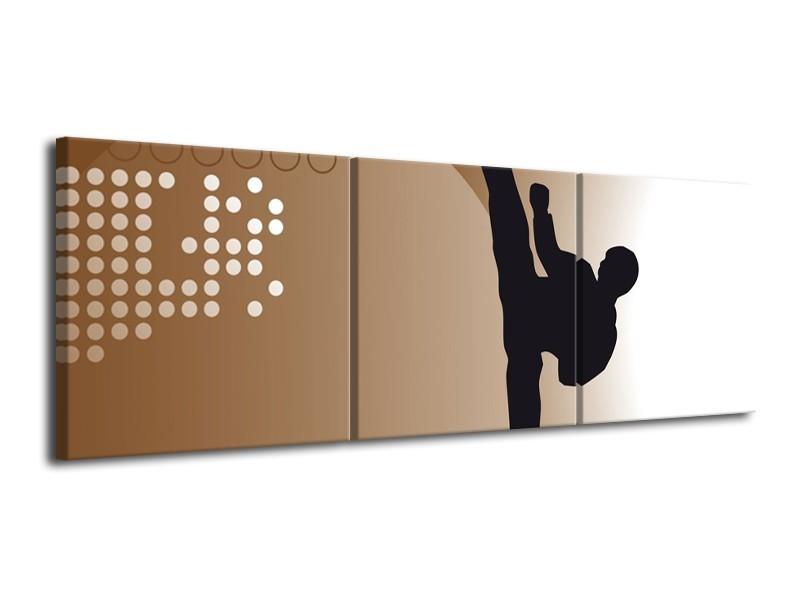 Canvas schilderij Mensen | Bruin, Zwart | 120x40cm 3Luik