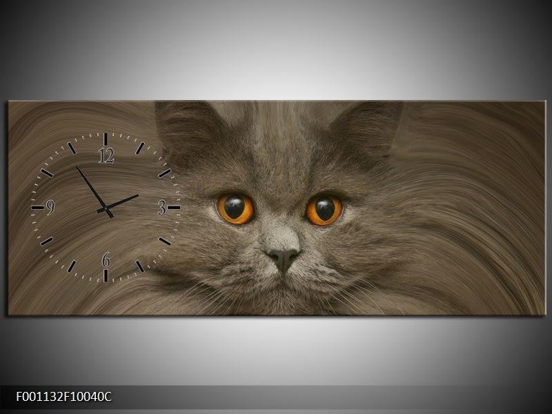 Klok schilderij Kat   Grijs, Bruin, Wit   100x40cm 1Luik