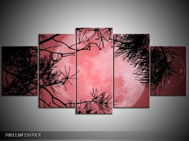 Klok schilderij Maan   Zwart, Paars, Rood   150x70cm 5Luik