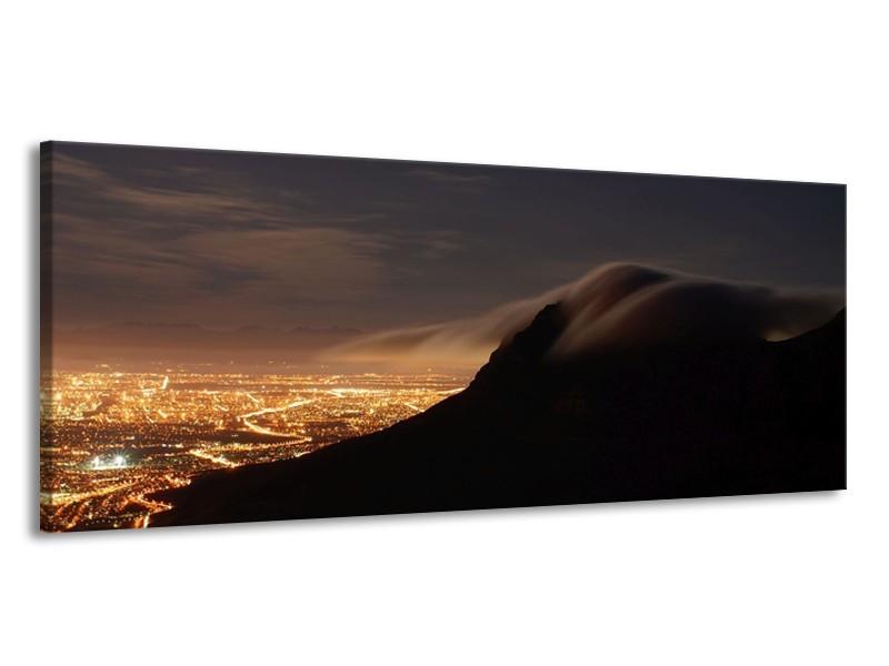 Glas schilderij Landschap | Zwart, Grijs, Wit | 145x58cm 1Luik