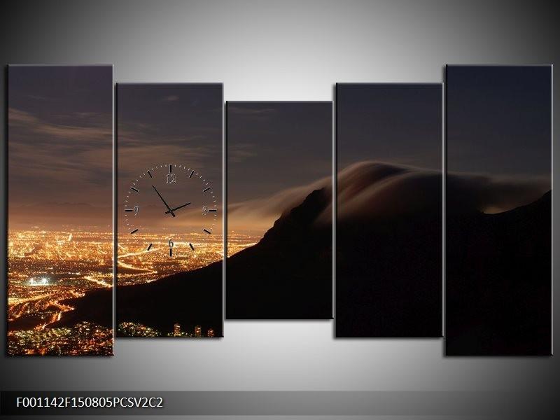 Klok schilderij Landschap | Zwart, Grijs, Wit | 150x80cm 5Luik