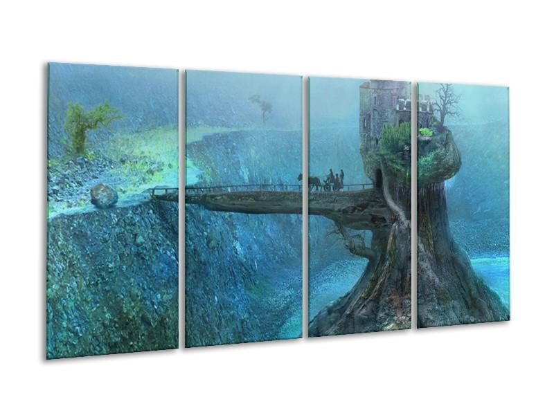 Glas schilderij Landschap | Groen, Grijs | 160x80cm 4Luik