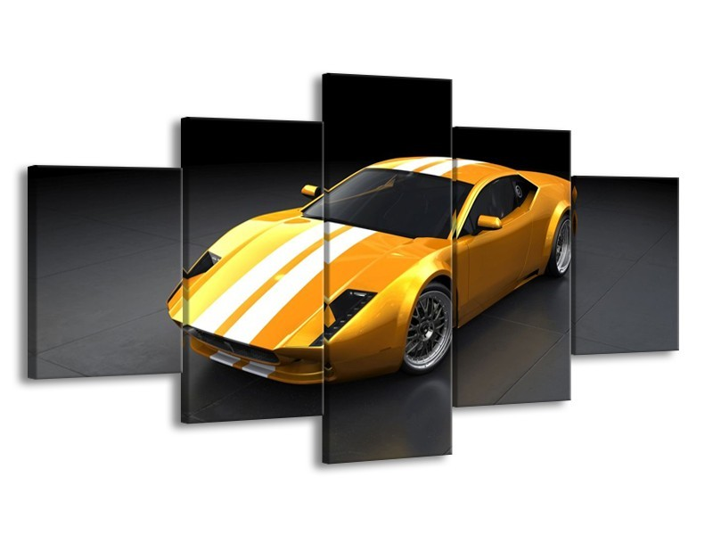 Glas schilderij Auto | Geel, Wit, Grijs | 150x80cm 5Luik