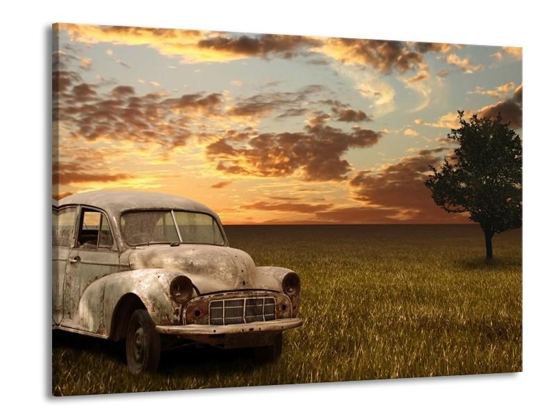 Glas schilderij Auto   Grijs, Geel   100x70cm 1Luik