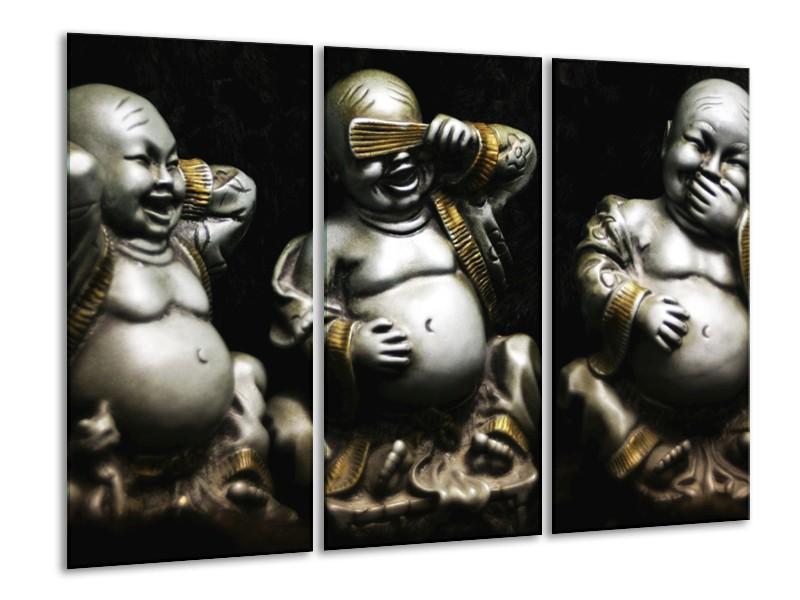 Glas schilderij Boeddha   Zwart, Wit, Goud   120x80cm 3Luik