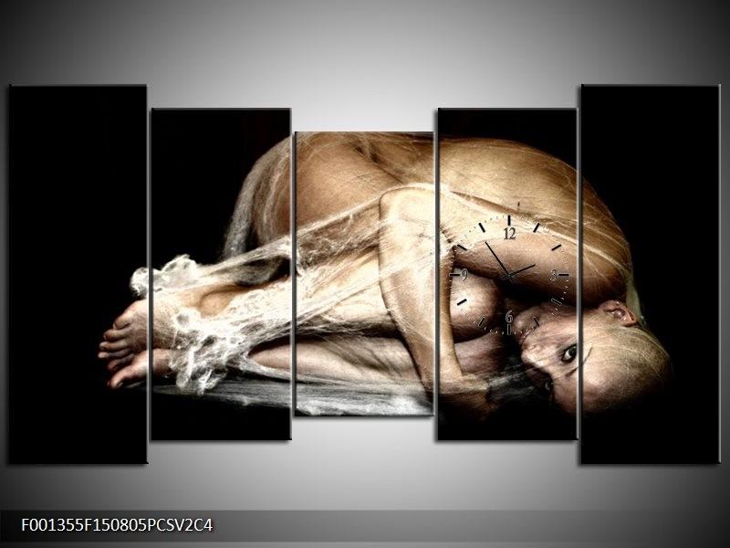 Klok schilderij Mensen | Bruin, Zwart, Crème | 150x80cm 5Luik