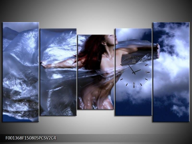 Klok schilderij Vrouw | Geel, Blauw, Zwart | 150x80cm 5Luik