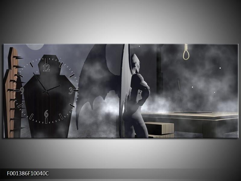 Klok schilderij Abstract | Grijs, Zwart | 100x40cm 1Luik