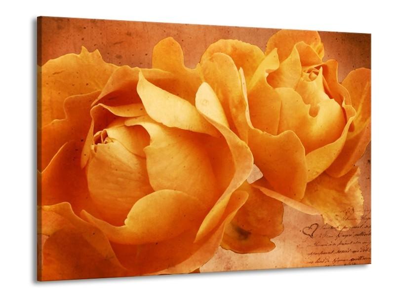 Glas schilderij Roos   Bruin, Oranje, Geel   100x70cm 1Luik