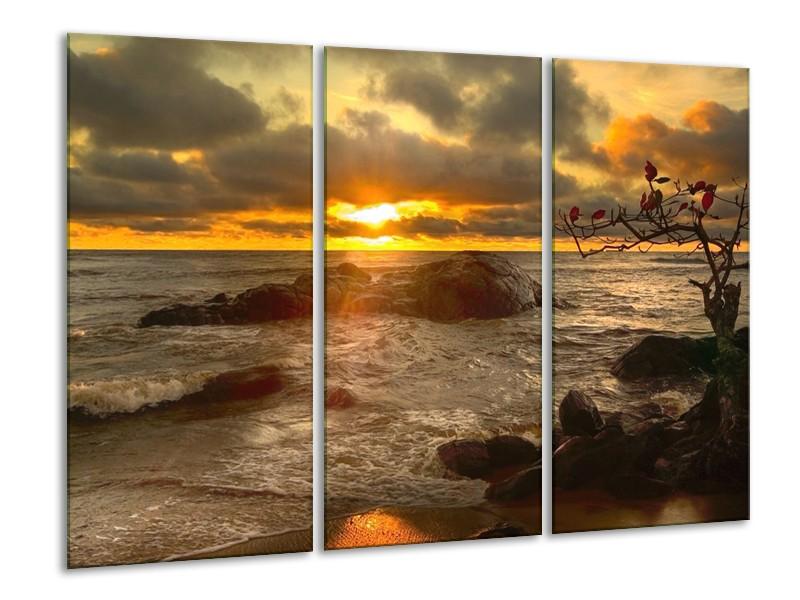 Canvas schilderij Zee | Geel, Grijs, Wit | 120x80cm 3Luik