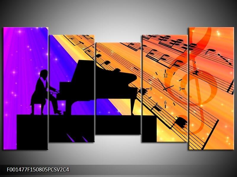 Klok schilderij Muziek | Zwart, Geel, Blauw | 150x80cm 5Luik