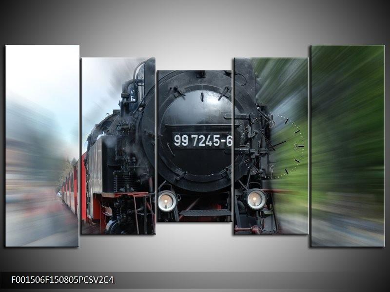 Klok schilderij Trein | Zwart, Groen, Grijs | 150x80cm 5Luik