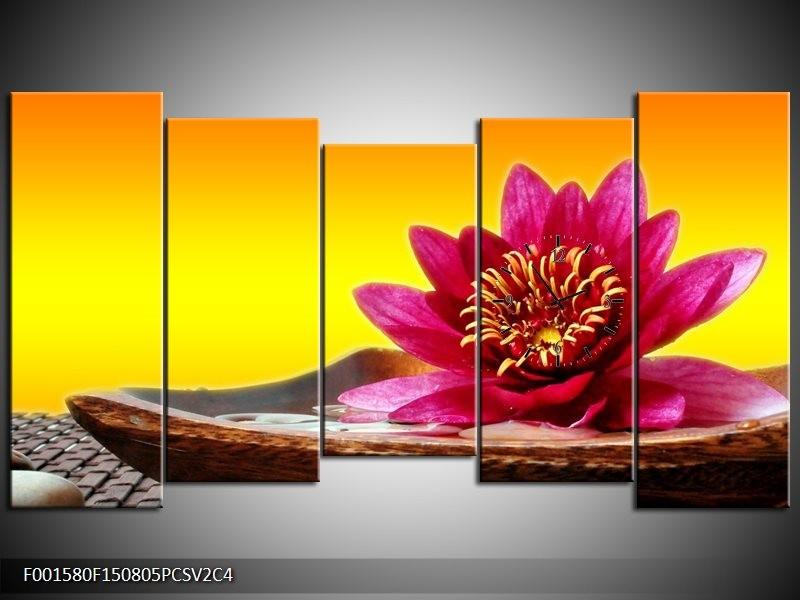 Klok schilderij Bloem | Paars, Geel, Oranje | 150x80cm 5Luik