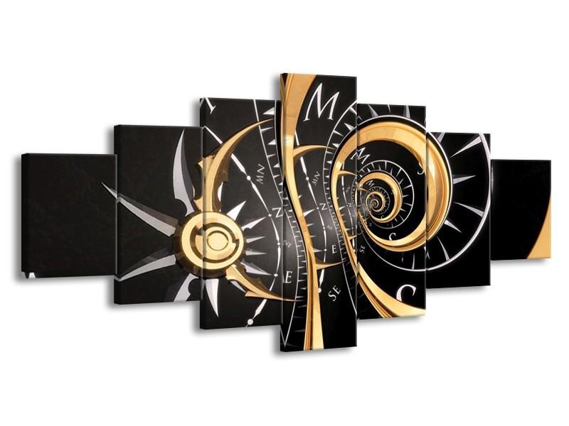 Canvas schilderij Abstract   Zwart, Goud, Wit   210x100cm 7Luik