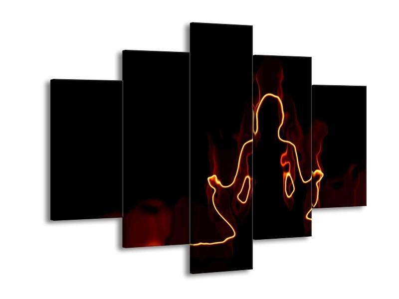 Canvas schilderij Yoga | Geel, Oranje, Zwart | 150x105cm 5Luik