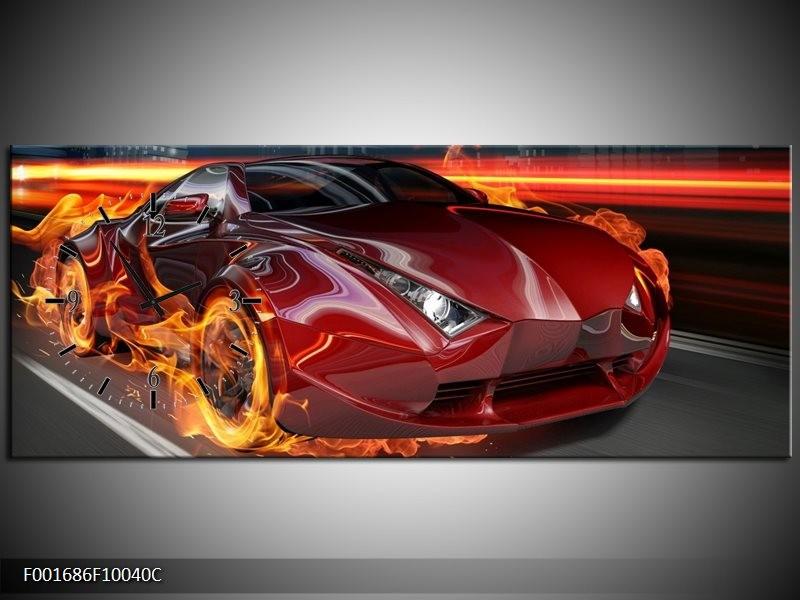 Klok schilderij Auto | Rood, Zwart, Oranje | 100x40cm 1Luik