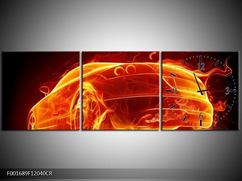 Klok schilderij Auto   Goud, Rood, Geel   120x40cm 3Luik