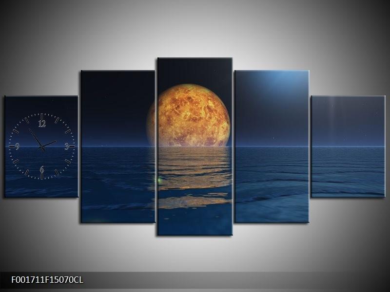 Klok schilderij Maan   Blauw, Bruin   150x70cm 5Luik