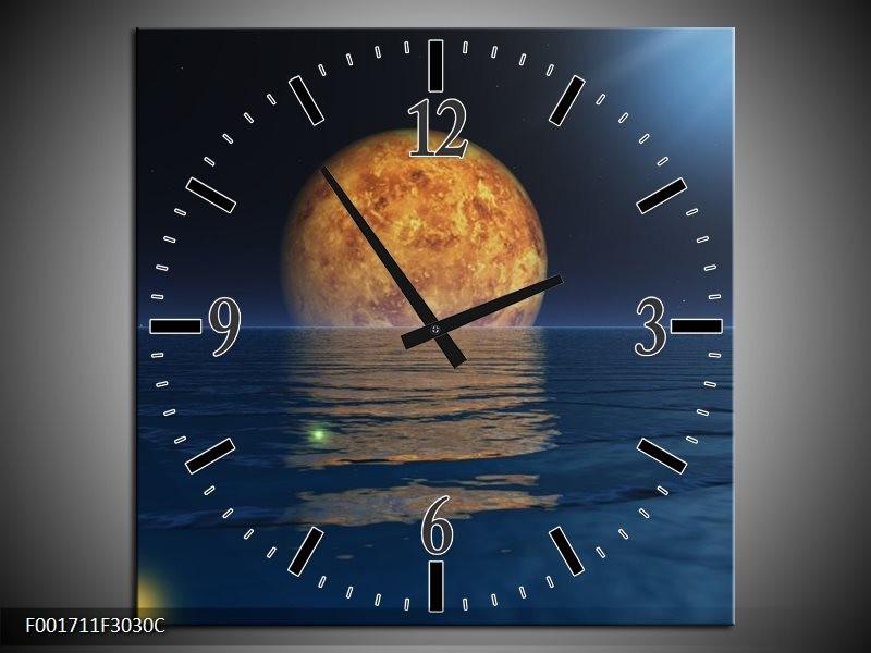 Klok schilderij Maan   Blauw, Bruin   30x30cm 1Luik