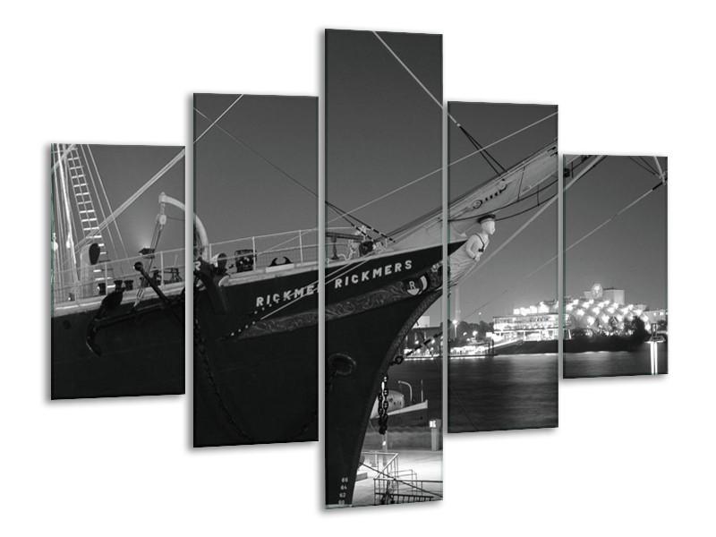 Canvas schilderij Boot | Grijs, Zwart, Wit | 100x70cm 5Luik