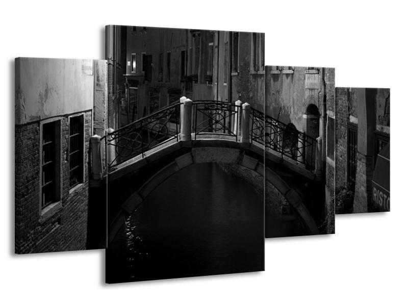Canvas schilderij Brug | Grijs, Zwart, Wit | 160x90cm 4Luik