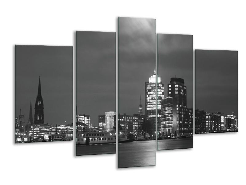 Glas schilderij Gebouw | Grijs, Zwart, Wit | 170x100cm 5Luik