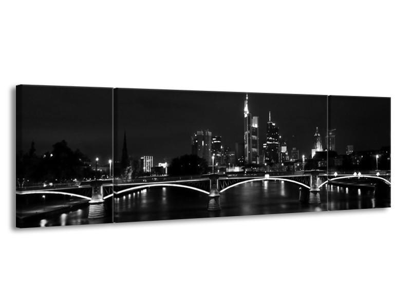 Canvas schilderij Brug | Grijs, Zwart, Wit | 170x50cm 3Luik