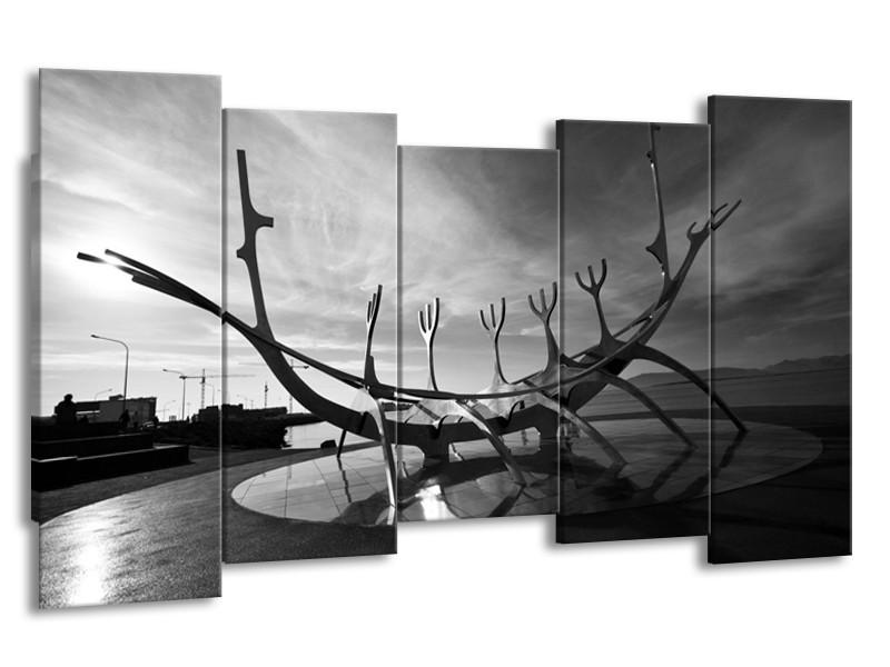 Canvas schilderij Kunst | Grijs, Zwart, Wit | 150x80cm 5Luik