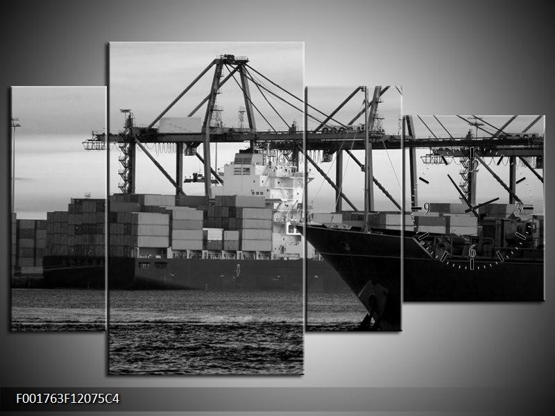 Klok schilderij Boot | Grijs, Zwart, Wit | 120x75cm 4Luik