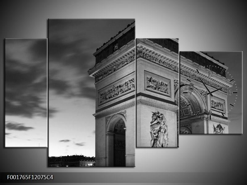 Klok schilderij Parijs | Grijs, Zwart, Wit | 120x75cm 4Luik
