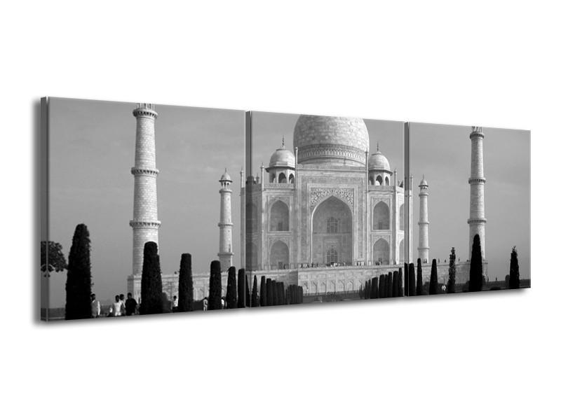 Canvas schilderij Taj Mahal | Grijs, Zwart, Wit | 150x50cm 3Luik