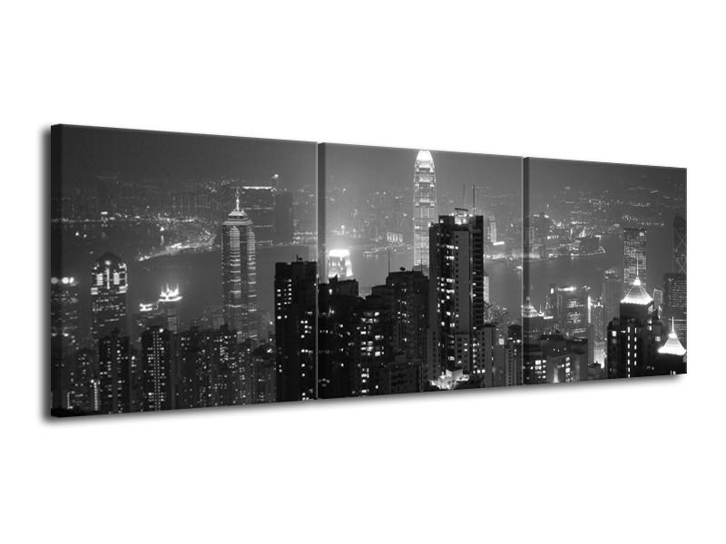 Glas schilderij Gebouw   Grijs, Zwart, Wit   120x40cm 3Luik