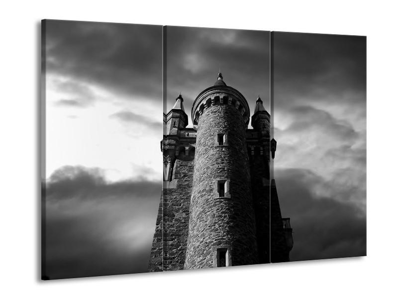 Glas schilderij Toren | Grijs, Zwart, Wit | 90x60cm 3Luik