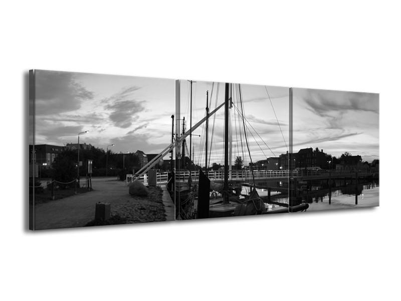Canvas schilderij Boot | Grijs, Zwart, Wit | 150x50cm 3Luik