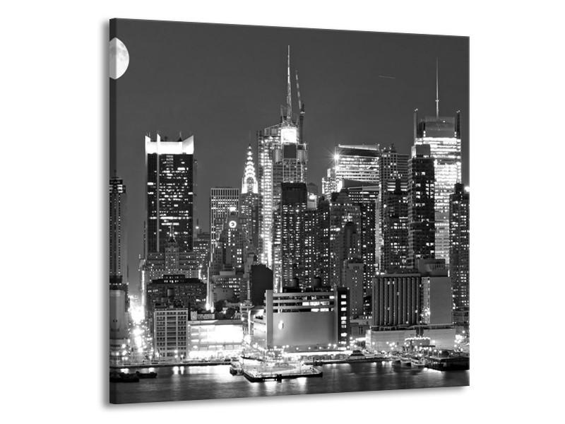Glas schilderij New York   Grijs, Zwart, Wit   70x70cm 1Luik