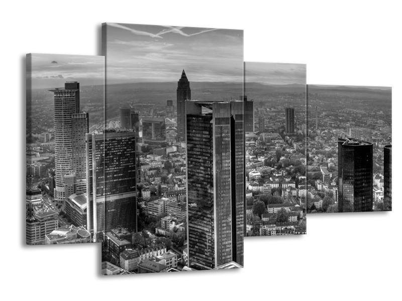 Canvas schilderij New York | Grijs, Zwart, Wit | 120x75cm 4Luik