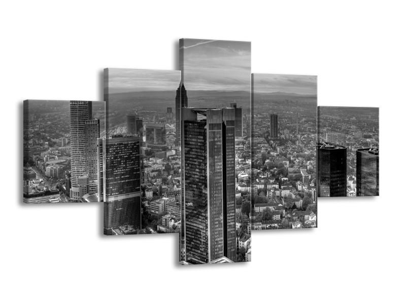 Canvas schilderij New York | Grijs, Zwart, Wit | 125x70cm 5Luik