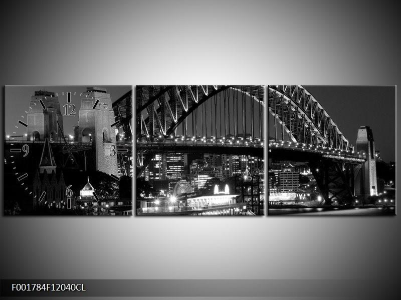 Klok schilderij Brug | Grijs, Zwart, Wit | 120x40cm 3Luik