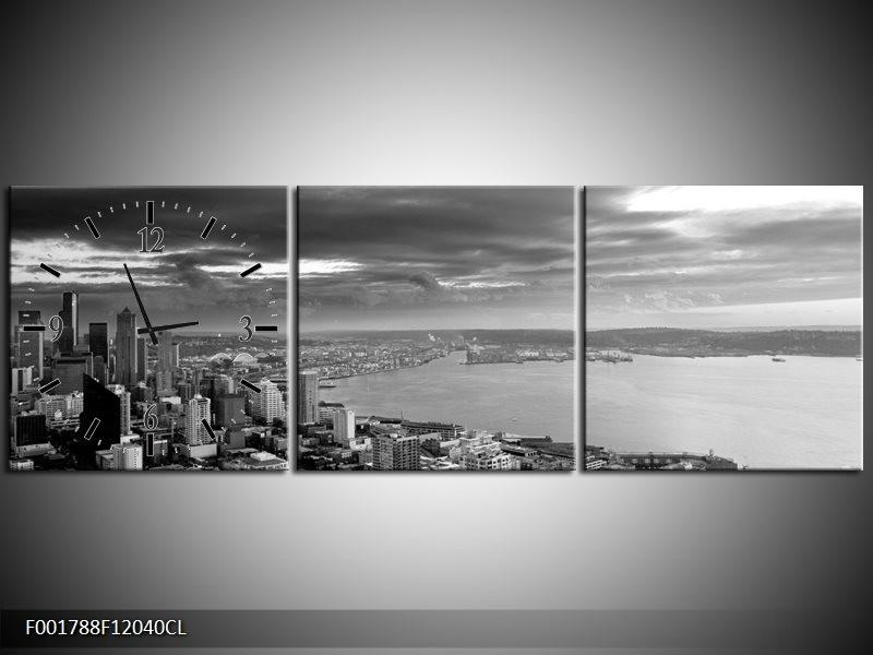 Klok schilderij New York | Grijs, Zwart, Wit | 120x40cm 3Luik