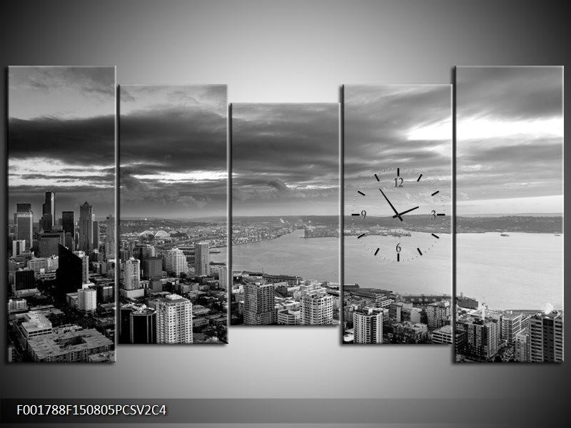 Klok schilderij New York | Grijs, Zwart, Wit | 150x80cm 5Luik