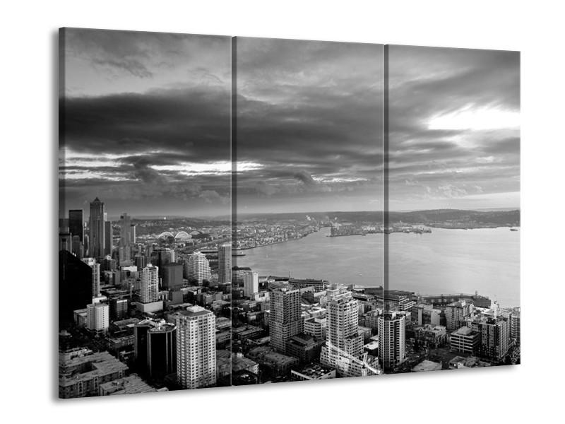 Canvas schilderij New York | Grijs, Zwart, Wit | 90x60cm 3Luik